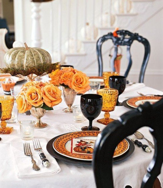 Halloween Table with Yellow Flowers