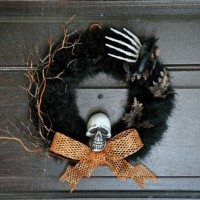 Halloween Wreath with a Skull and a Hand