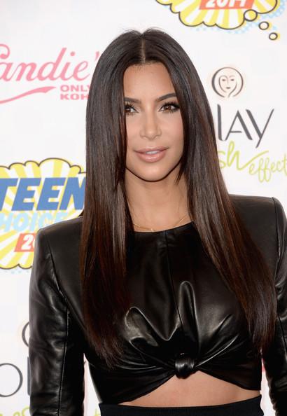 Kim Kardashian Sleek Straight Hairstyle with Neutral Makeup