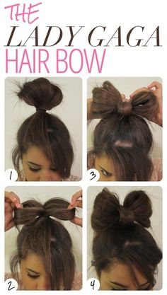 Lady Gaga Bow Hairstyle For School Girls