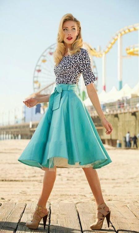 Leopard Printed Shirt and Blue Midi Skirt