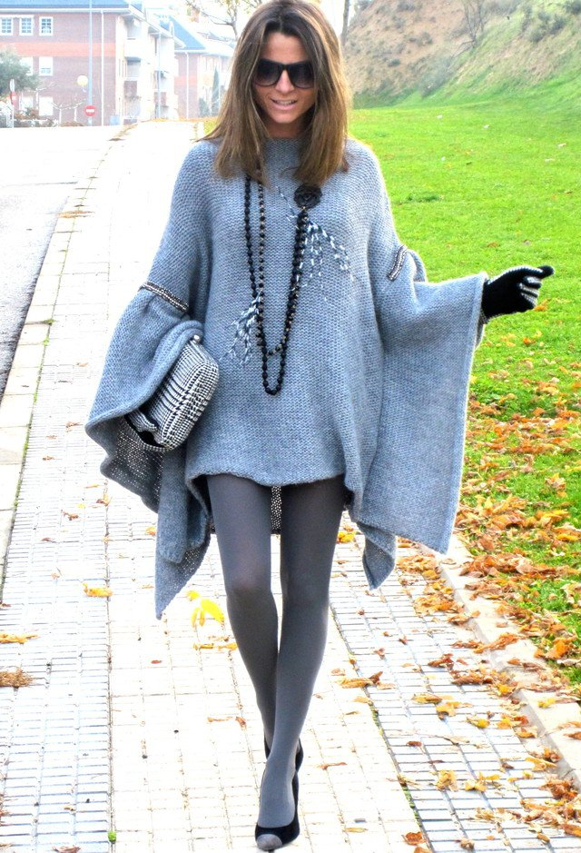 Light Blue Poncho Outfit Idea