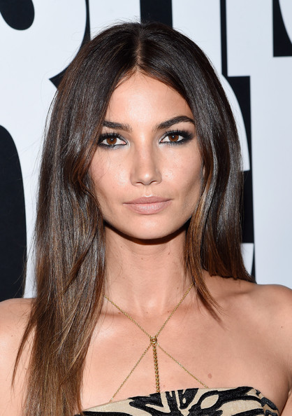 Lily Aldridge Long Straight Cut with Smoky Eyes and Nude Lips