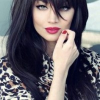 Long Black Straight Hairstyle With Bangs