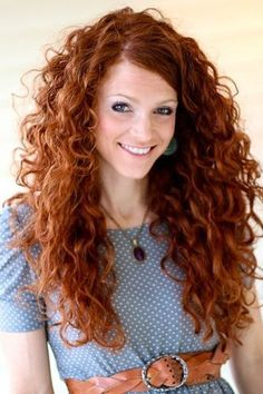 Long Curly Hairstyle for Copper Hair