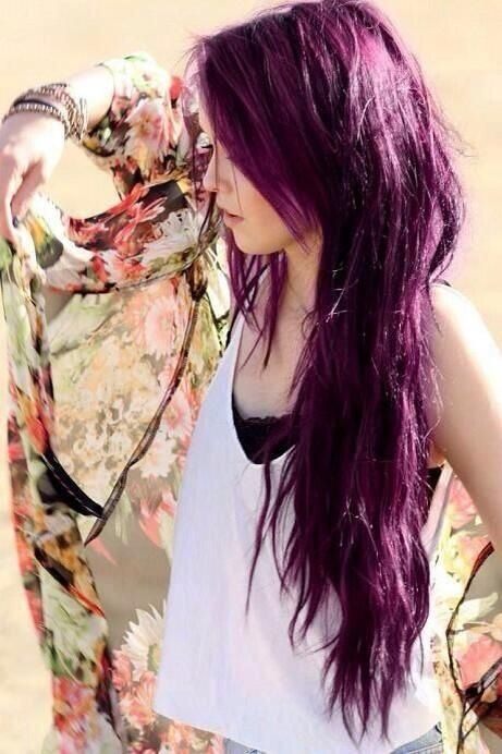 Long Layered Purple Hairstyle