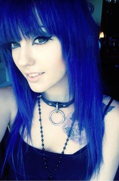 Long Straight Blue Hairstyle With Blunt Bangs