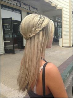 Long Straight Hairstyle With Braided Crown