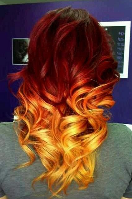 Long Wavy Orange Ombre Hairstyle