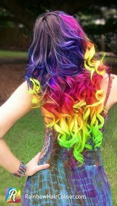 Long Wavy Rainbow Hairstyle