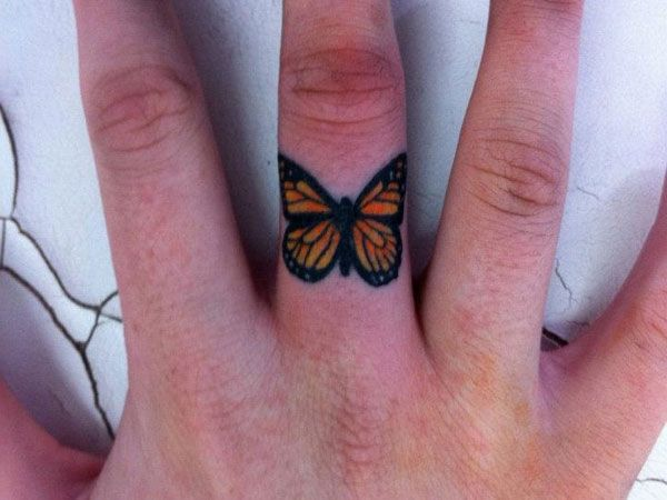 Lovely Butterfly Tattoo on The Finger