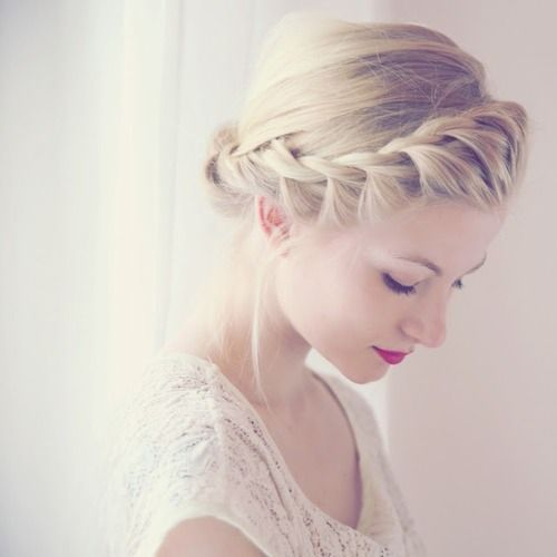 curly fade hairstyle : Lovely Crown Braid Hairstyle via