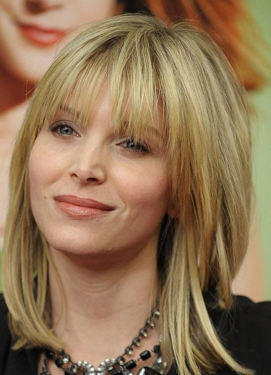 Medium Blond Hairstyle With Bangs