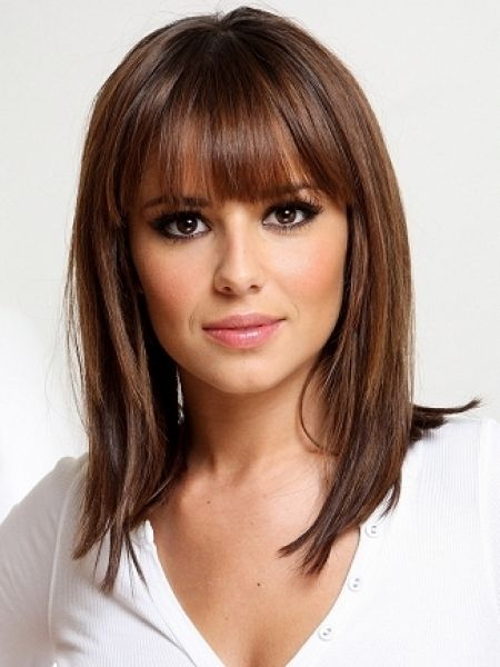 Medium Straight Hairstyle With Bangs