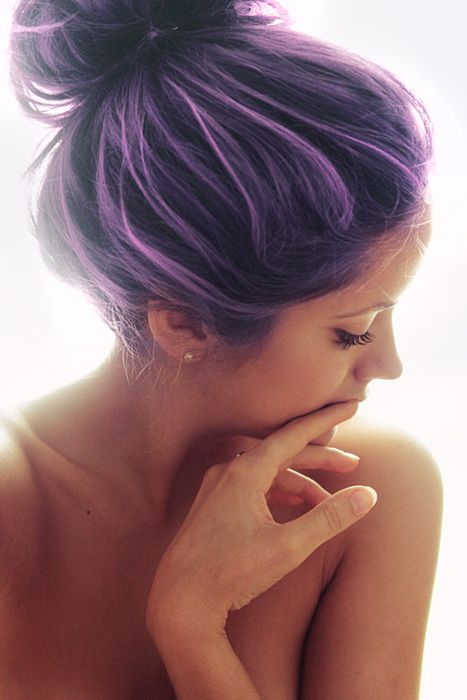 Messy Bun Purple Hairstyle
