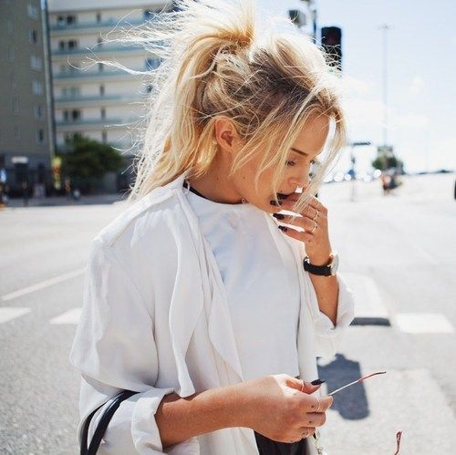 Messy High Ponytail Hairstyle