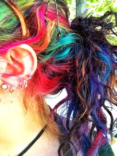 Messy Rainbow Ponytail Hairstyle