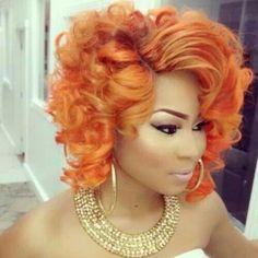 Orange Curly Bob Hairstyle