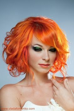 Orange Curly Wavy Bob Hairstyle