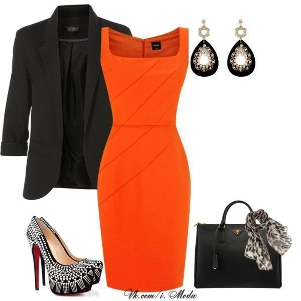 Orange Dress with Black Blazer
