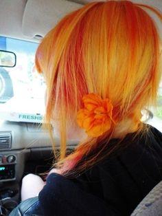 Orange Side Ponytail Hairstyle