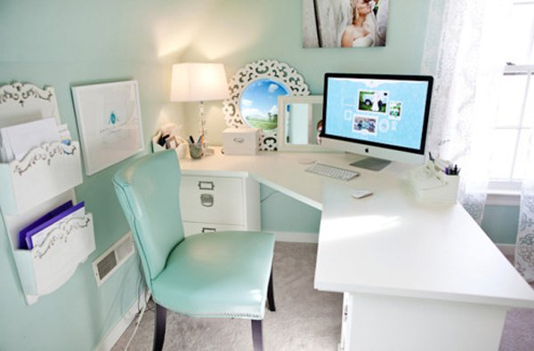 Pale Blue Home Office