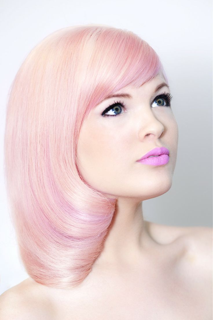 Pink Colored Straight Bob Hairstyle