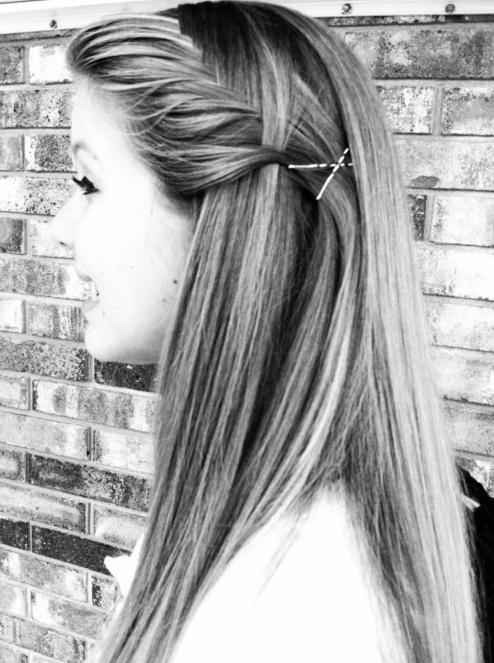 Pinned Up Long Straight Hairstyle