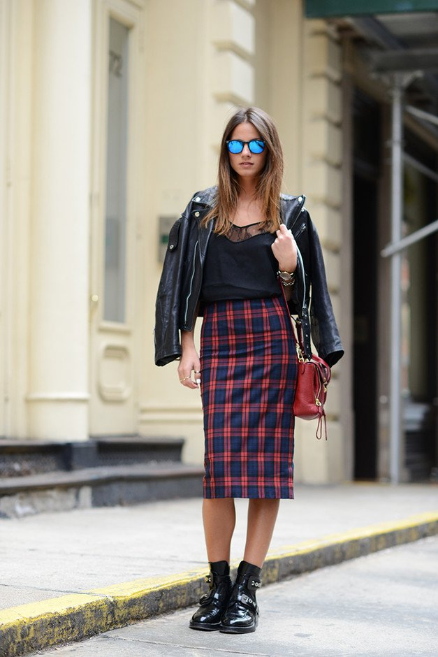 Plaid Midi Skirt Outfit for Women