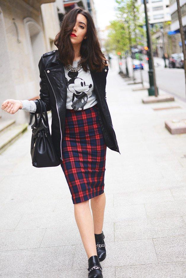 Plaid Midi Skirt and Black Leather Jacket