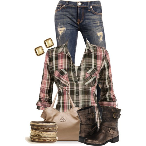 Plaid Blouse Outfit for Fall