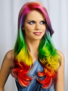 Pretty Long Wavy Rainbow Hairstyle