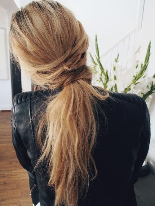 Pretty Messy Lower Ponytail Hairstyle
