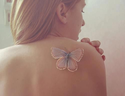 Pretty Pastel Butterfly Tattoo