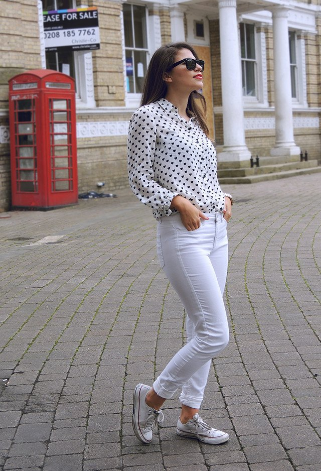 Printed Chiffon Blouse with Sneakers