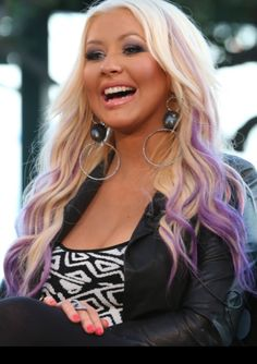 Purple Colored Hair - Christina Aguilera Hairstyles