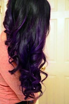 Purple Highlighted Long Black Wavy Hairstyle