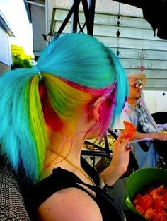 Rainbow Ponytail Hairstyle