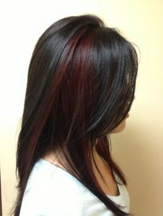 Red Highlighted Long Black Hairstyle