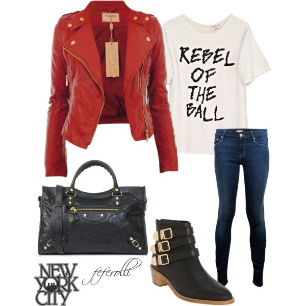 Red Leather Jacket Outfit Idea for Fall