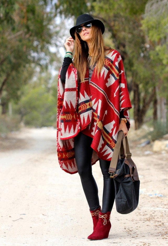 Red Printed Poncho Outfit Idea