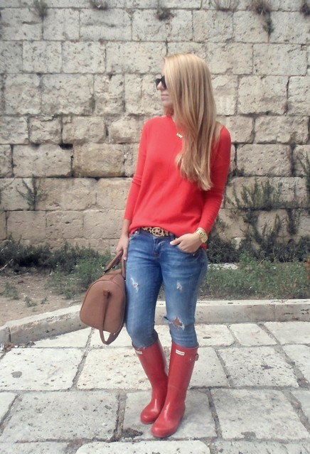 Red Sweater with Ripped Jeans for Fall