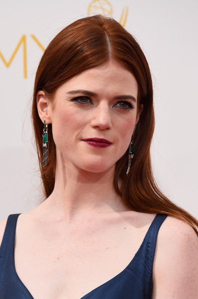 Rose Leslie Center-parted Long Straight Cut with Dark Red Lips