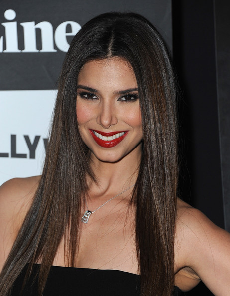 Roselyn Sanchez Long Straight Hair with Red Lips and Long Lashes