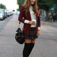 School Style Outfit with Maroon Blazer