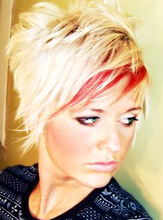 Shaggy Blonde Hair With Red Highlights
