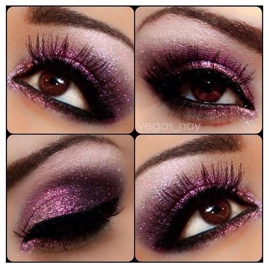 Shimmer Violet Eye Makeup Idea