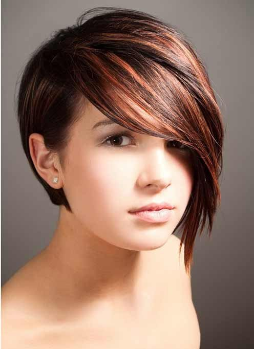 Short Haircut With Long Side Bangs for Round Faces