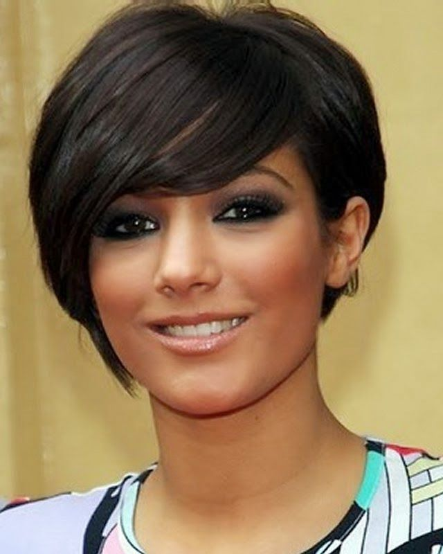 Short Haircut With Side Bangs for Round Faces