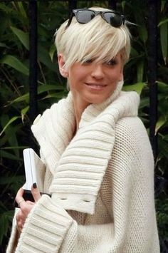 Short Shaggy Platinum Blond Hairstyle